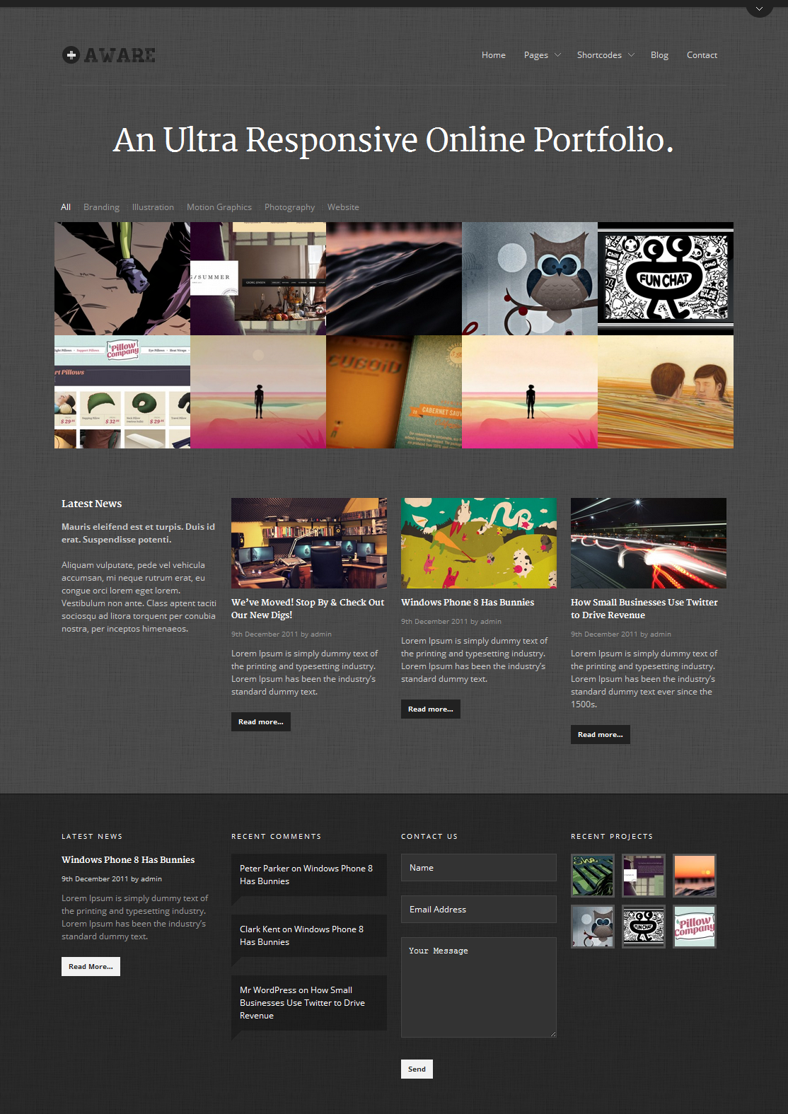 Aware - Responsive Wordpress Portfolio Theme by Themewich | ThemeForest