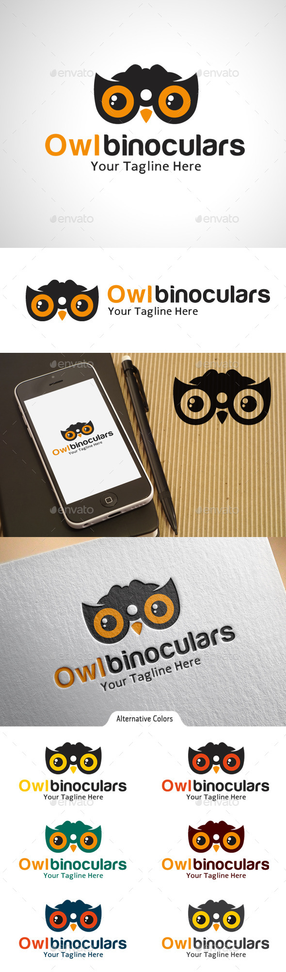 Owl Binoculars - Objects Logo Templates