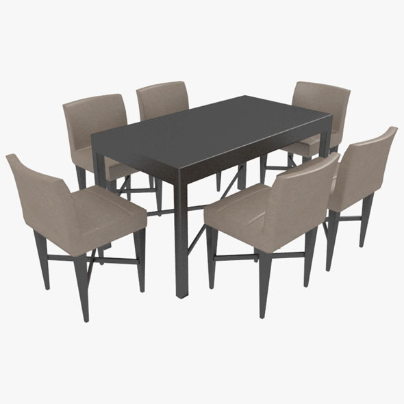 Dining Table With Chairs-7 - 3DOcean Item for Sale