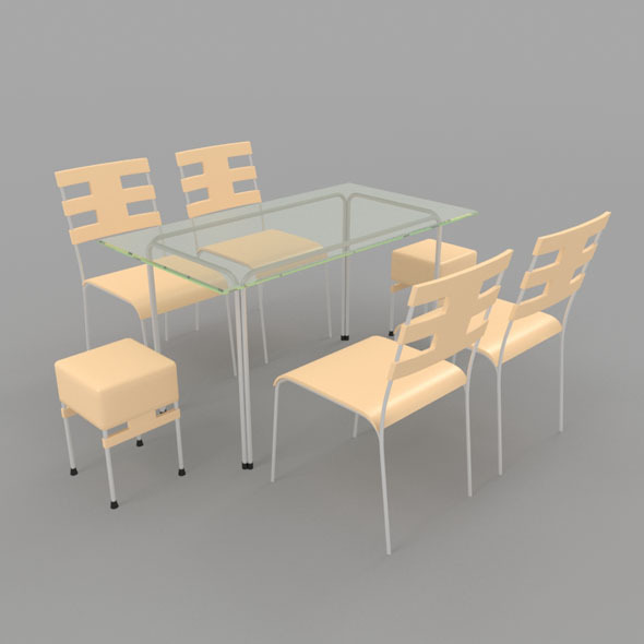 Dining Table With Chairs-6 - 3DOcean Item for Sale