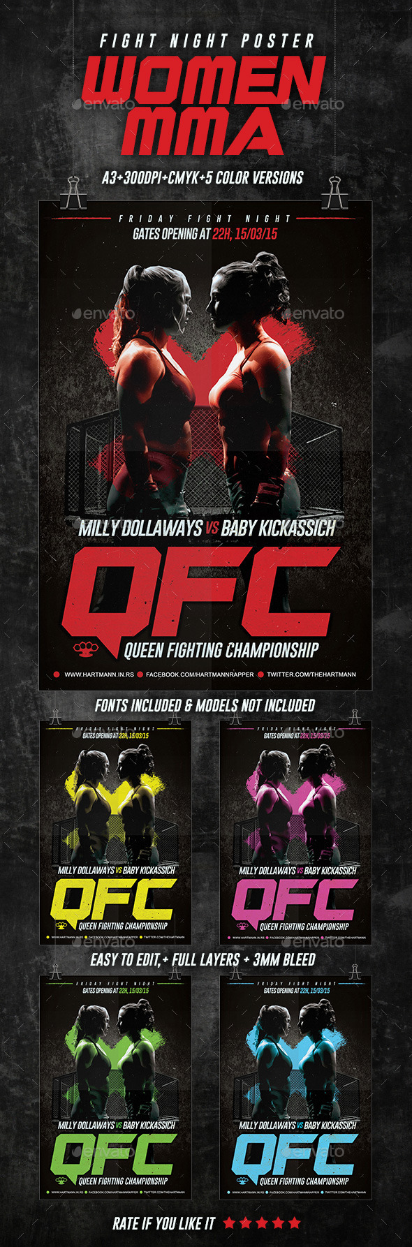 Women MMA Fight Poster - Sports Events