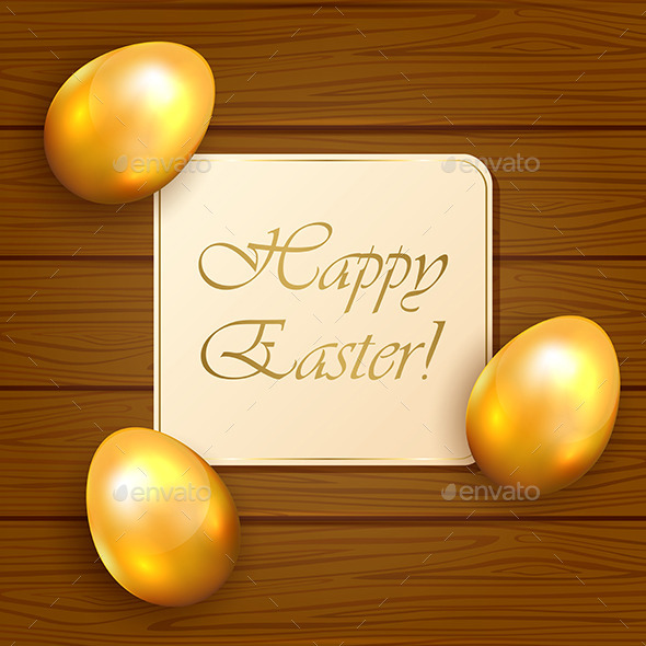 Easter Card and Eggs on Wooden Background - Backgrounds Decorative