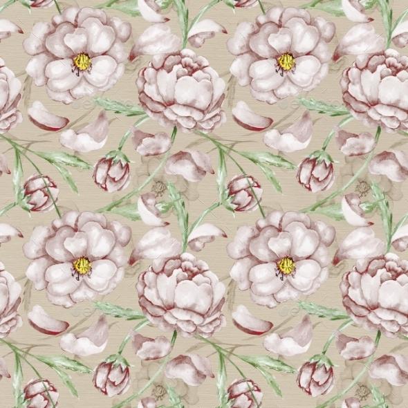 Vintage Pattern with Peony  - Patterns Decorative