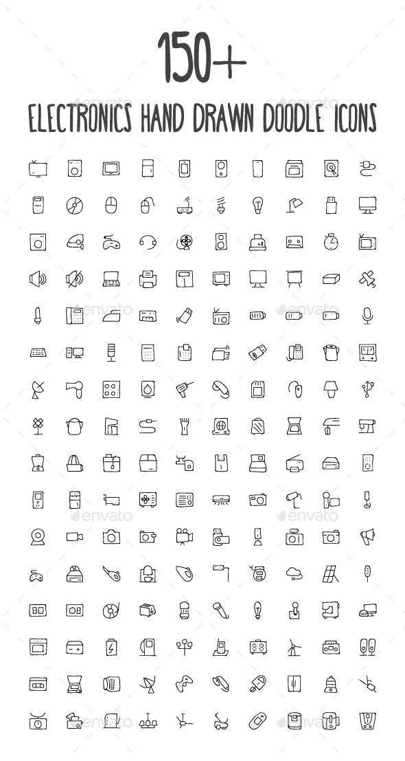 150+ Electronics Hand Drawn Icons - Objects Icons