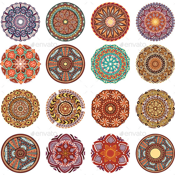 Round Ornament Pattern Collection - Decorative Symbols Decorative