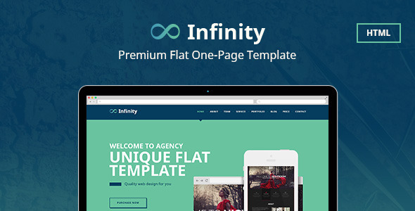 Infinity Flat One Page Html Template By Annabalashova Themeforest