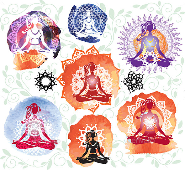 Silhouette of Woman Meditating in Lotus Position - People Characters