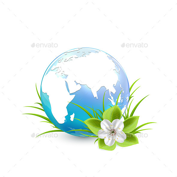 Blue Earth Globe with Flower - Flowers & Plants Nature