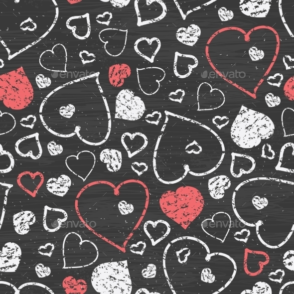 Chalkboard with Hearts  - Decorative Symbols Decorative