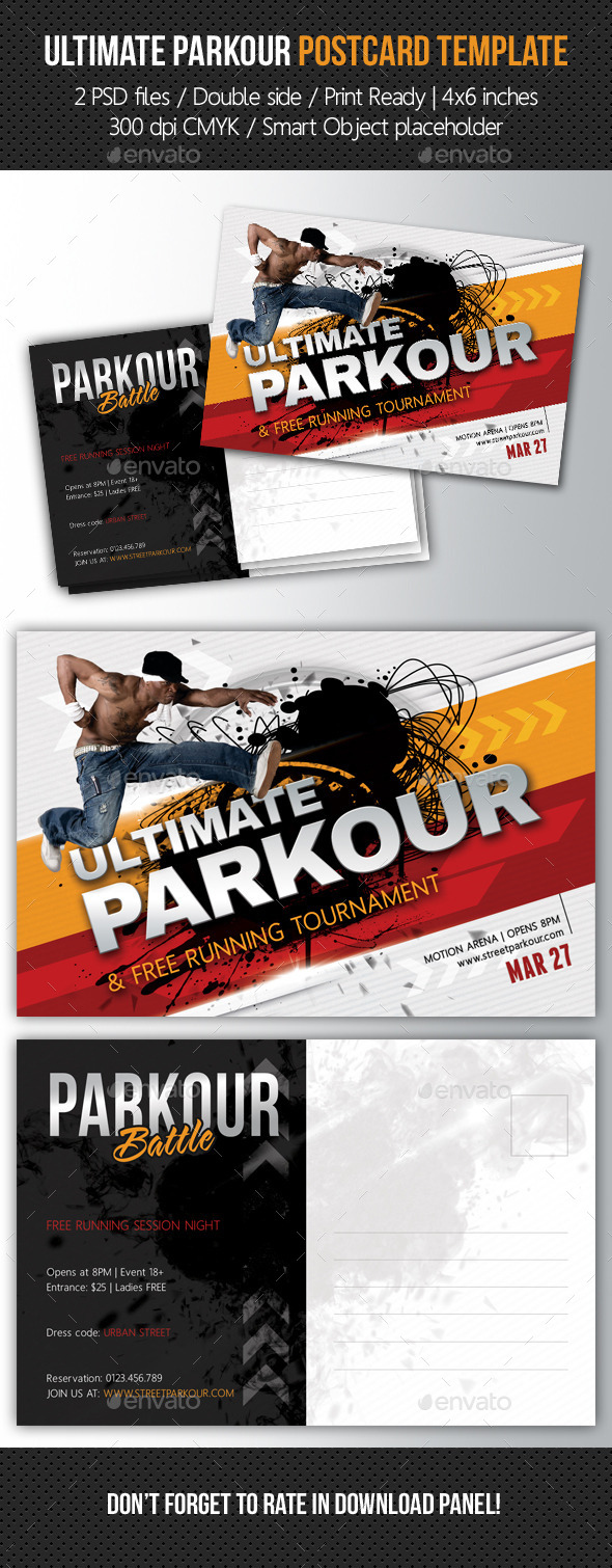 Ultimate Parkour Postcard Template - Cards & Invites Print Templates