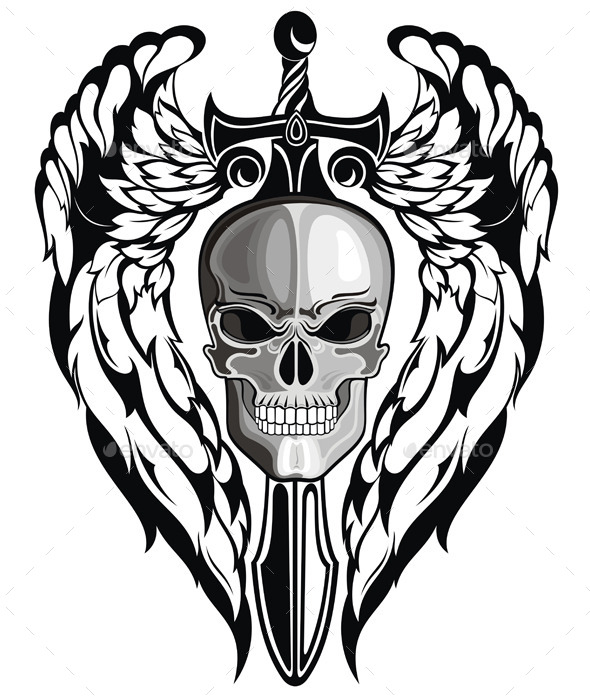 Winged Skull with Sword - Backgrounds Decorative