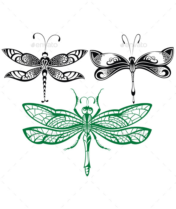 Abstract Design Dragonfly - Decorative Symbols Decorative