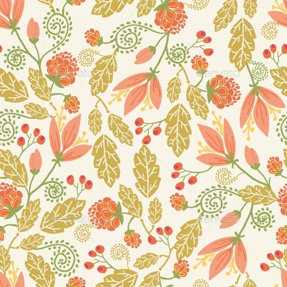 Spring Flowers and Berries Pattern  - Flowers & Plants Nature