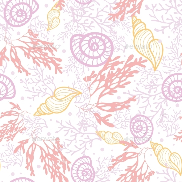 Sea Shells and Weed Pattern - Patterns Decorative