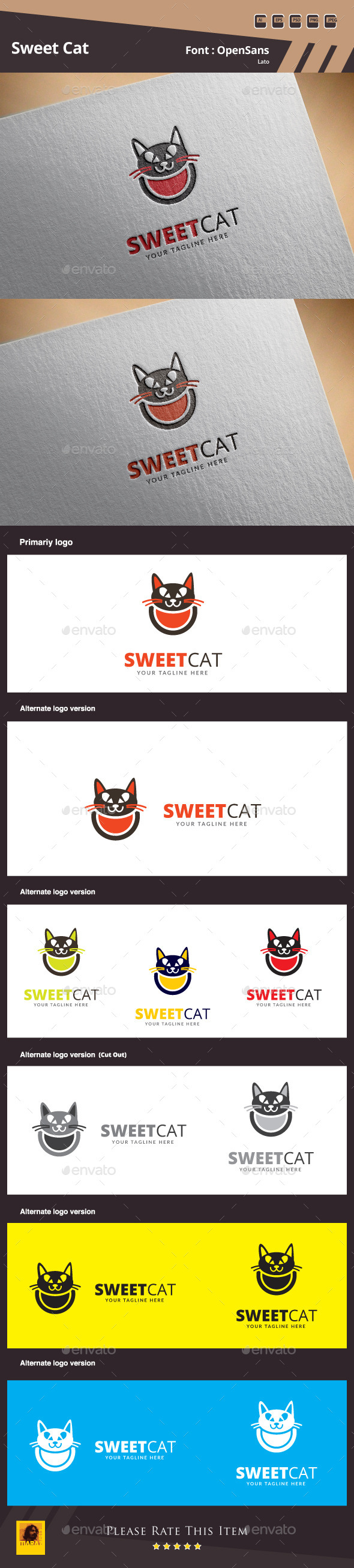 Sweet Cat Logo Template - Animals Logo Templates