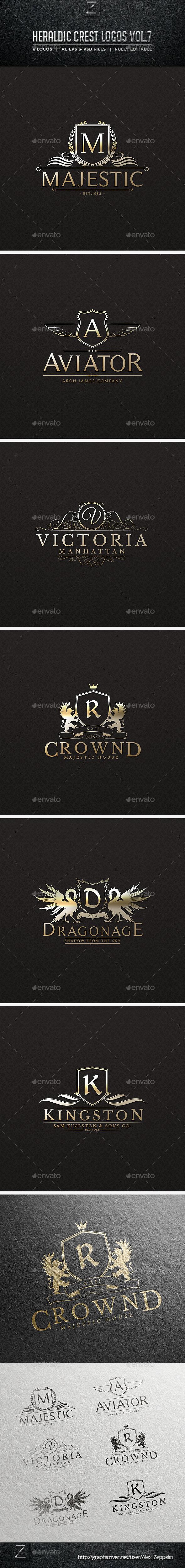 Heraldic Crest Logos Vol.7 - Badges & Stickers Web Elements