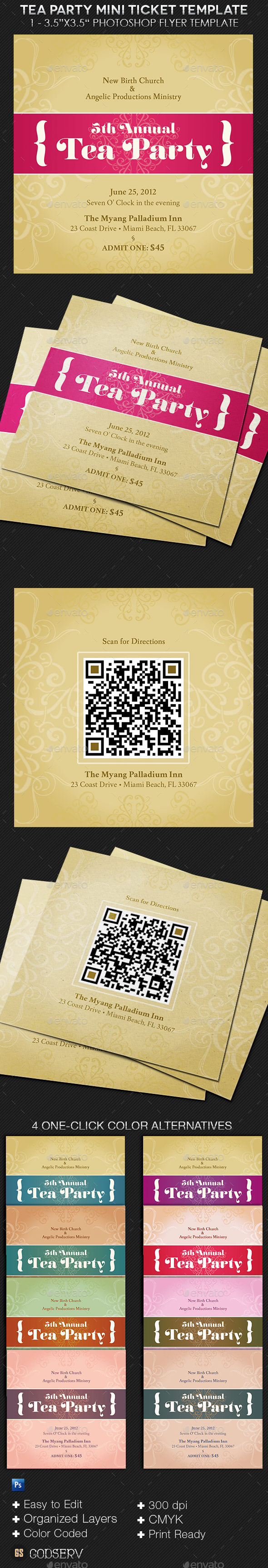 Tea Party Mini Ticket Template - Miscellaneous Print Templates