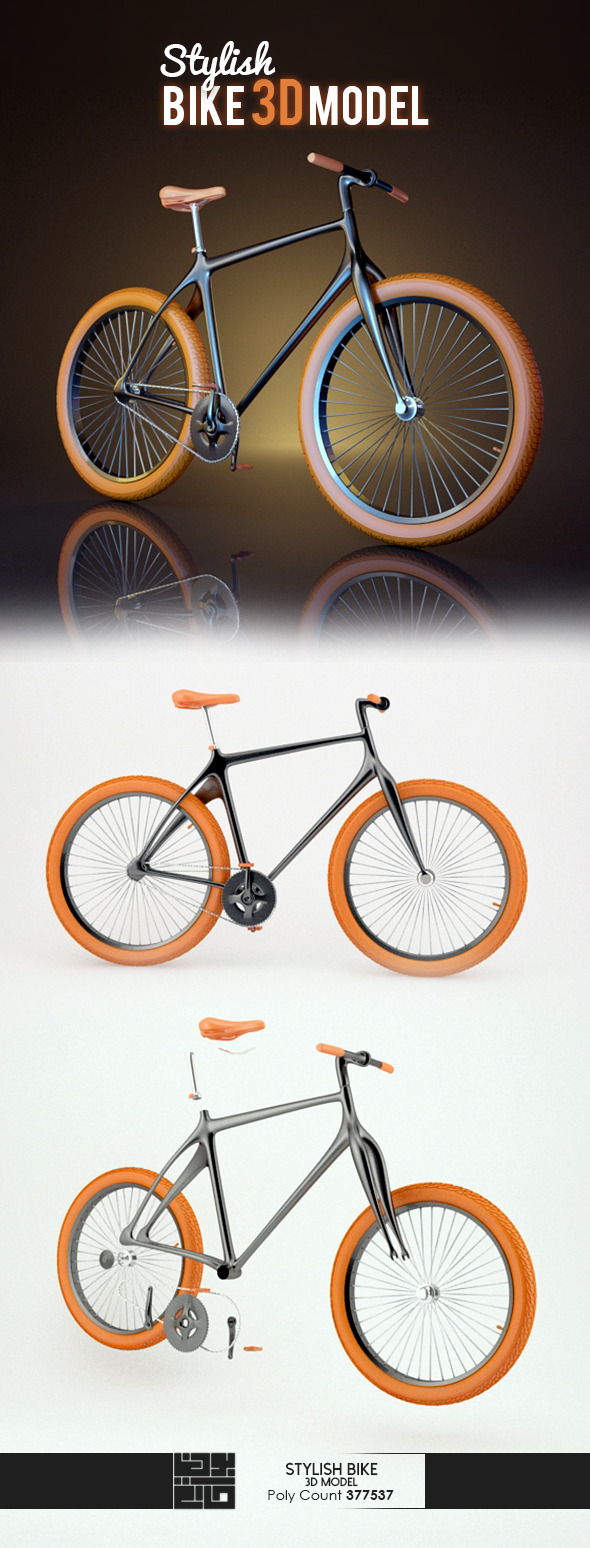 Stylish Bike 3D Model - 3DOcean Item for Sale