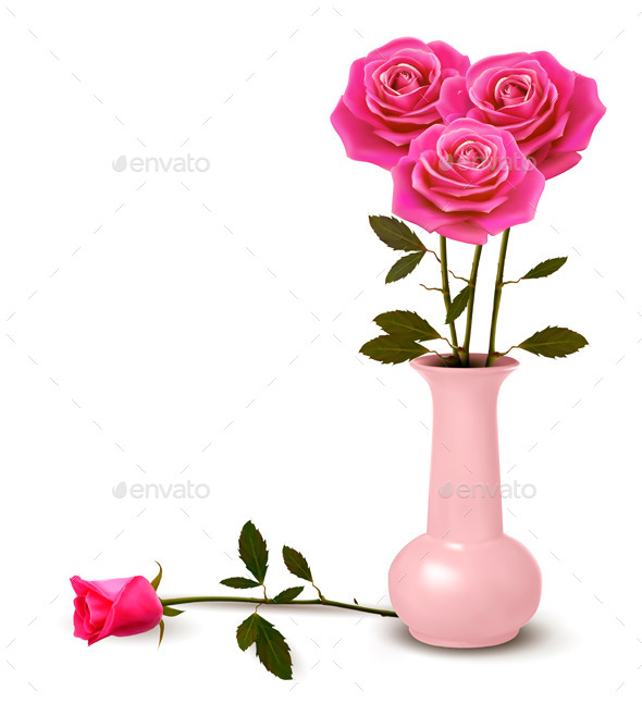 Holiday Background with Pink Roses in a Vase - Flowers & Plants Nature