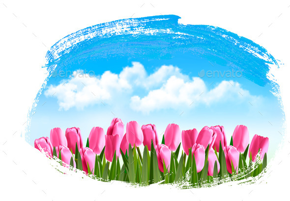 Spring Background with Pink Tulips - Seasons Nature