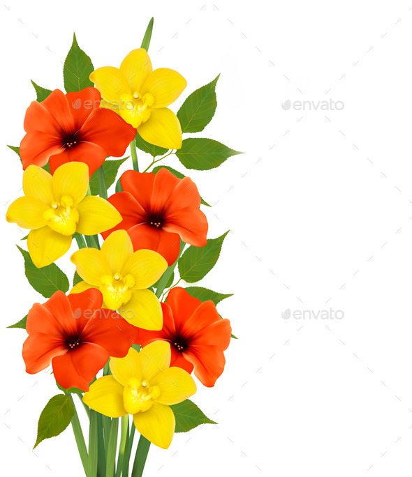 Background with Colorful Flowers - Flowers & Plants Nature