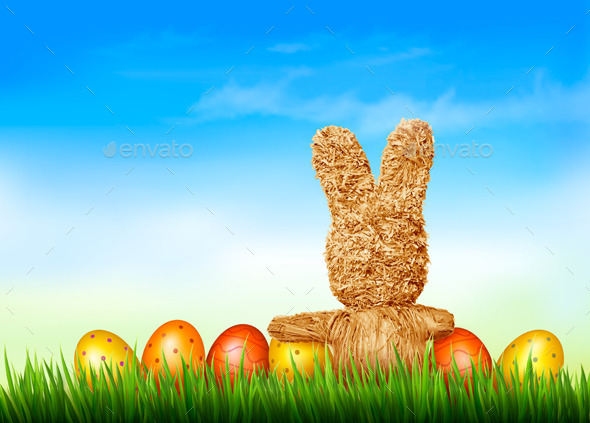Holiday Easter Background with Straw Rabbit  - Miscellaneous Seasons/Holidays