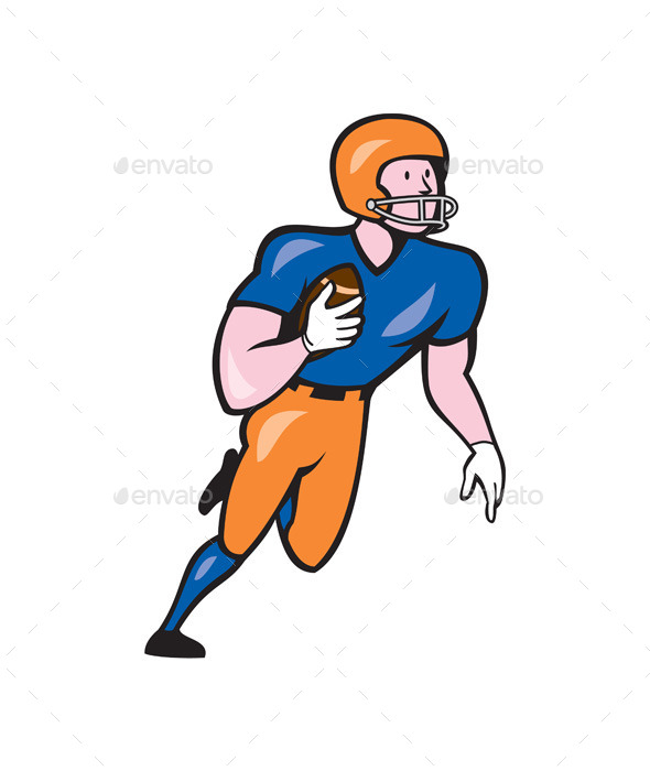 American Football Player Rusher Run Cartoon - Sports/Activity Conceptual