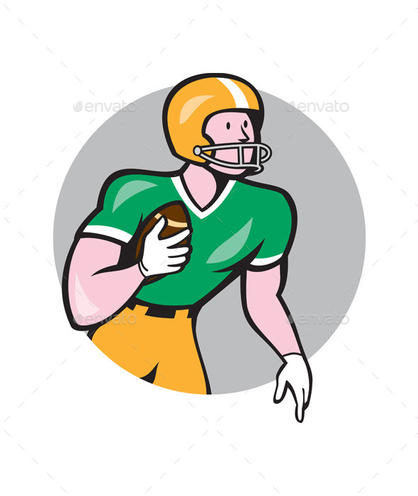 American Football Player Rusher Circle Retro - Sports/Activity Conceptual