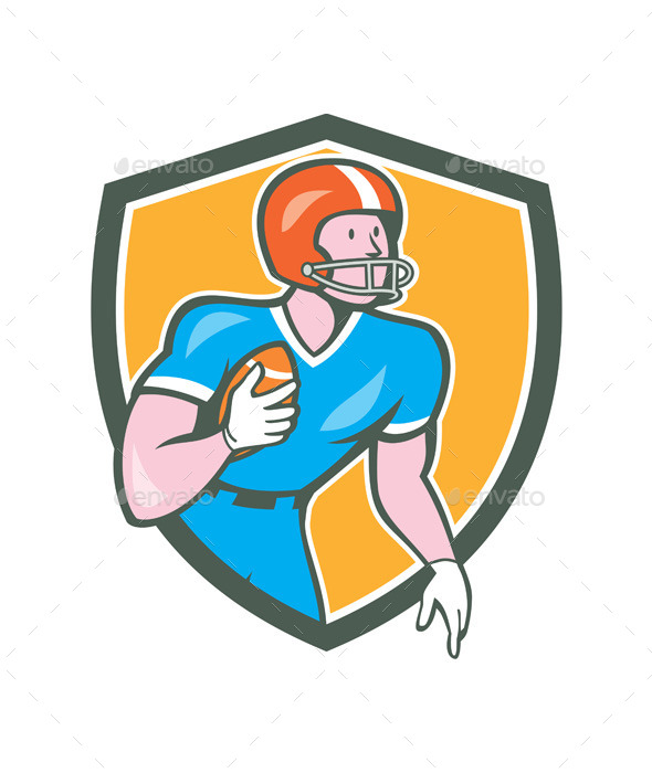 American Football Player Rusher Retro Shield  - Sports/Activity Conceptual