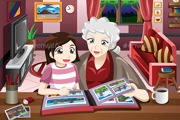 Grandma and Granddaughter Viewing Photo Album - People Characters