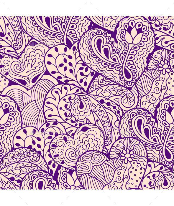 Violet Heart Seamless Pattern - Patterns Decorative