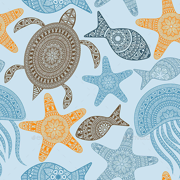 Seamless Pattern with Turtles - Patterns Decorative