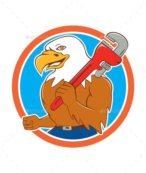 Bald Eagle Plumber Monkey Wrench Circle Cartoon - Animals Characters