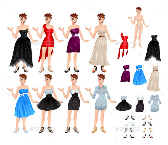 Female Avatar with Dresses and Shoes - People Characters