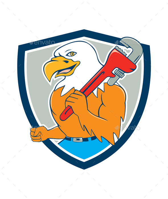 Bald Eagle Plumber Monkey Wrench Shield Cartoon - Animals Characters