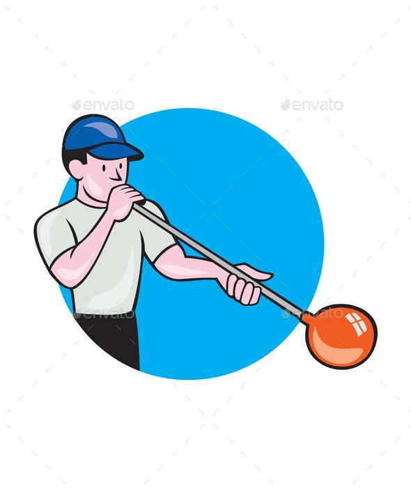 Glassblower Glassblowing Cartoon Circle - People Characters