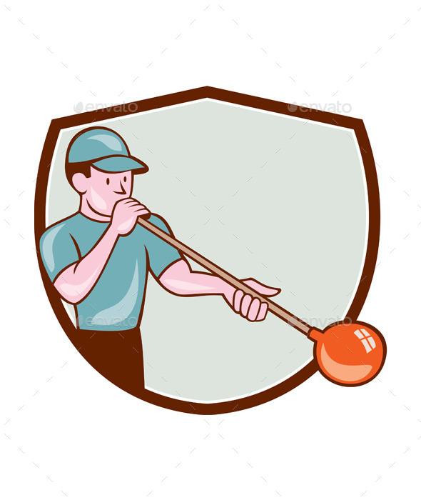 Glassblower Glassblowing Cartoon Shield - People Characters