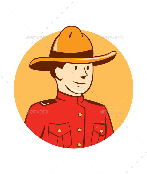Mounted Police Officer Bust Circle Cartoon - People Characters