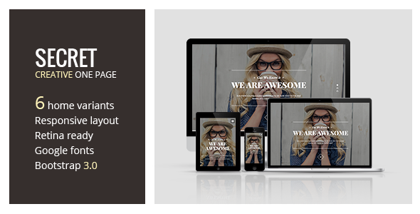 Secret – Creative One Page HTML5 Template
