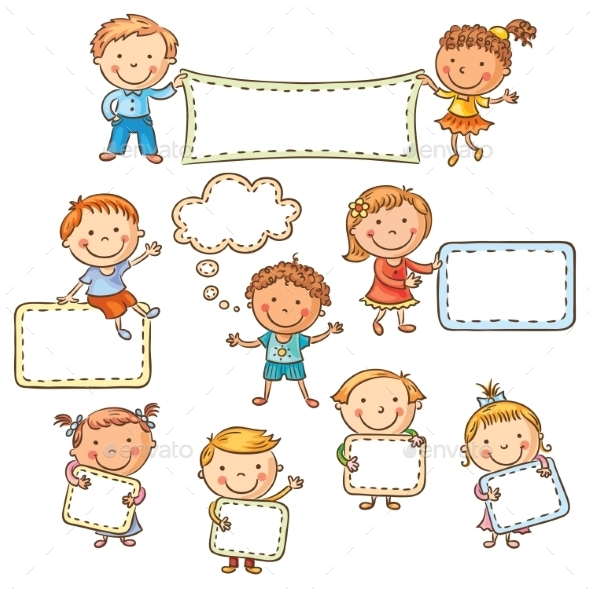 Kids with Blank Signs - Backgrounds Decorative