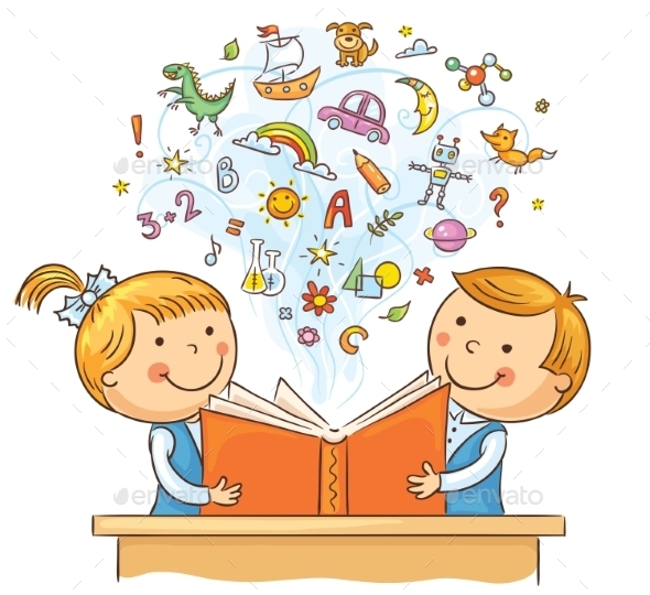 Children Reading a Book Together - People Characters