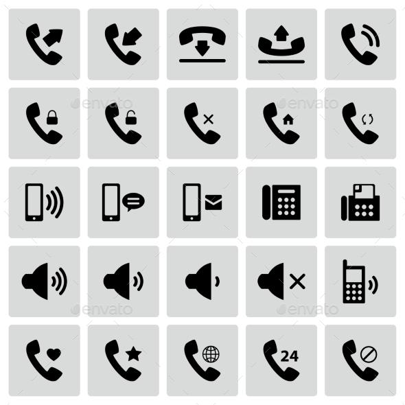 Set of Telephone Icons - Communications Technology