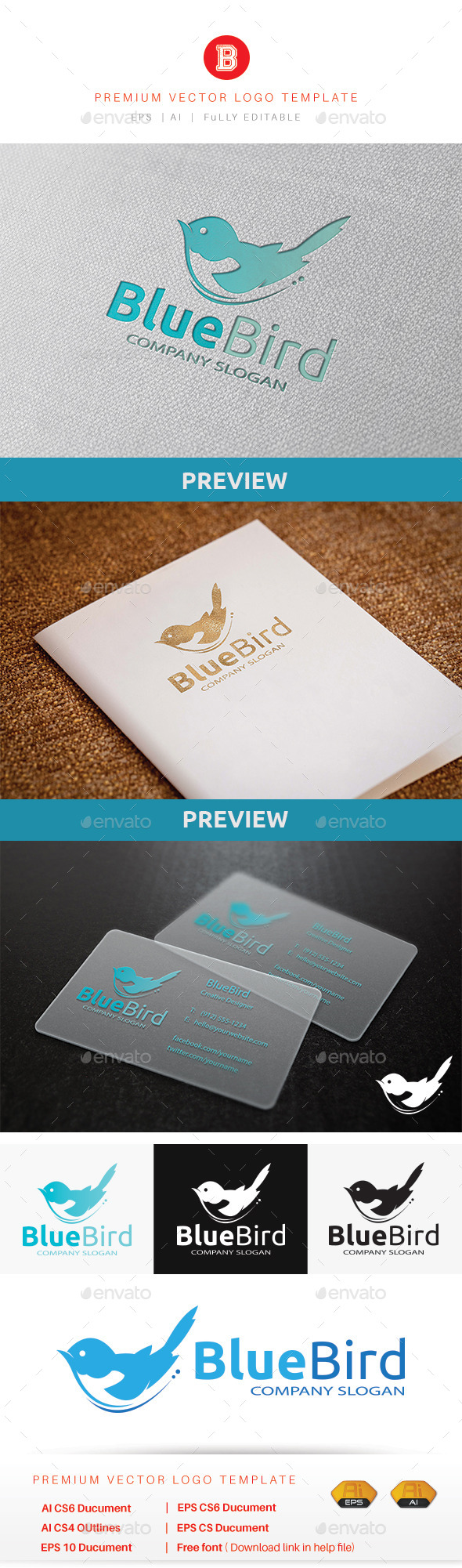 Blue Bird - Animals Logo Templates