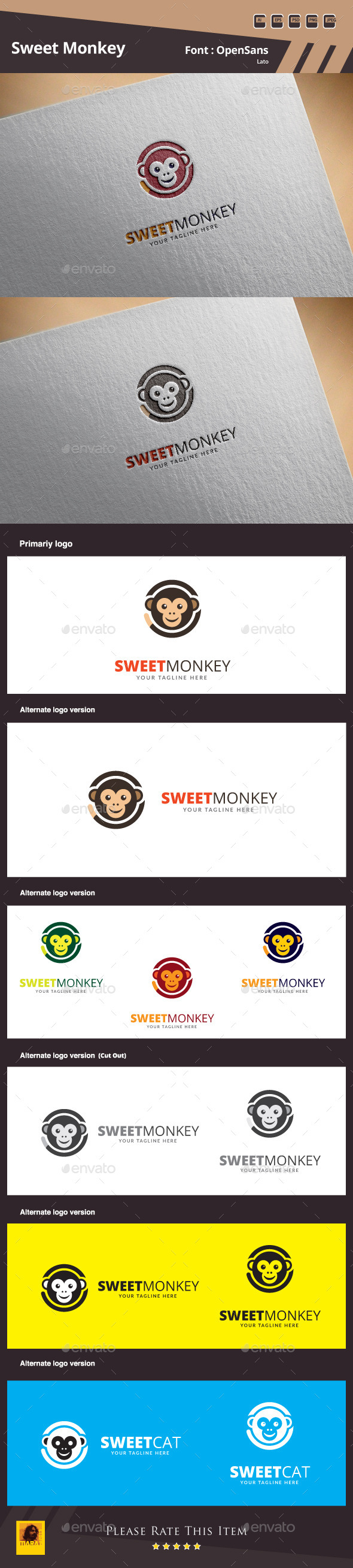 Sweet Monkey Logo Template - Animals Logo Templates