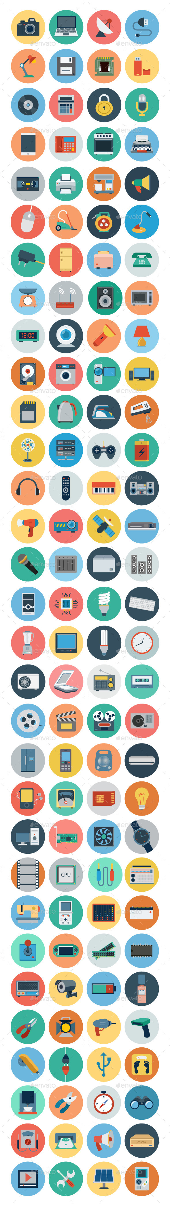 120+ Electronics Flat Icons - Objects Icons