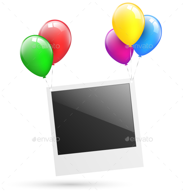 Festive Photo Frame Hang on Balloons - Backgrounds Decorative