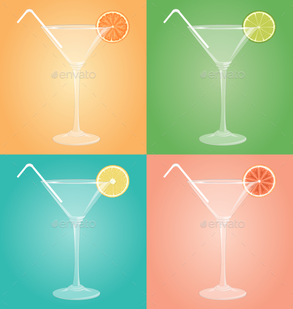 Empty Martini Glasses with Citrus - Man-made Objects Objects