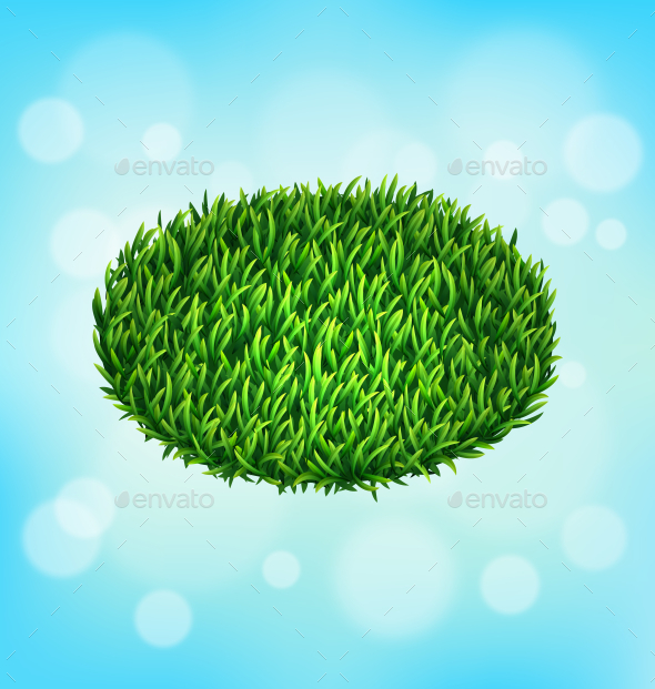 Green Grass Oval on Sky Background - Flowers & Plants Nature