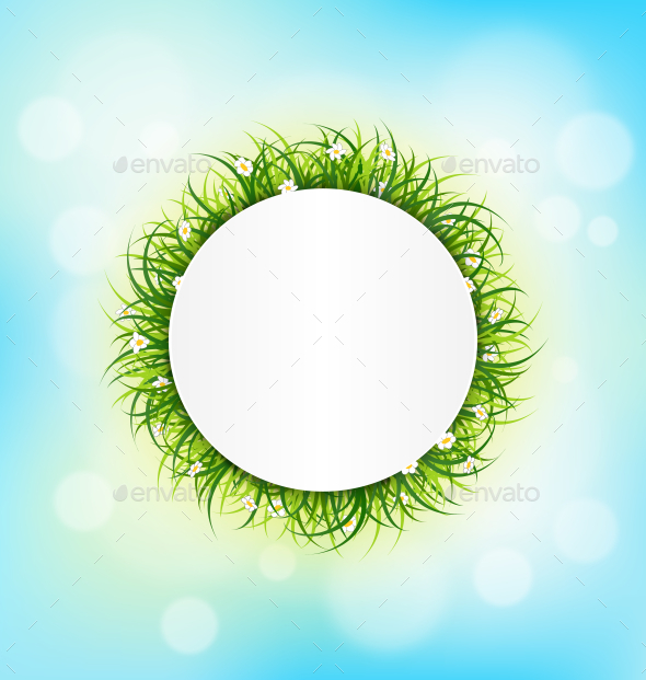 Circle Frame with Green Grass - Flowers & Plants Nature