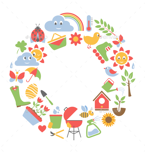 Spring Flat Icons in Circle - Miscellaneous Vectors